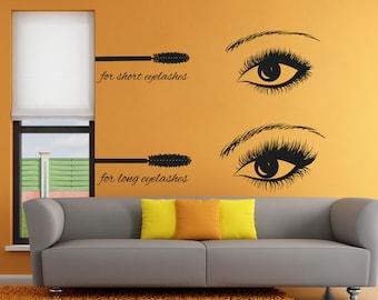 Eyelashes Mascara Wall Decal, Eyelashes Mascara Wall Sticker, Eye Eyebrows Wall Decor, Beauty Salon Decor, Make Up Room Wall Decor Art se126