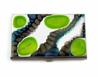 Business Card Case Metal Id Wallet Lime Green Turquoise and Gray Hand Painted  Enamel Card Holder Custom Colors and Personalized Options