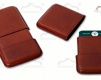 Honey Leather Card Holder, Tarjetero de piel color miel