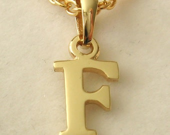 Genuine SOLID 9K 9ct YELLOW GOLD 3D Initial F Letter Pendant