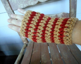 The Caramel Apple Fingerless boho crochet Gloves Tan & Red Apple Handmade Crocheted. Arm warmers wristers fall autumn harvest apple orchard