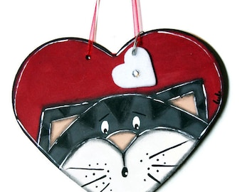 Red Heart with gray Cat - Cat heart Suspension - Red Heart - Door Plate with red heart and cat