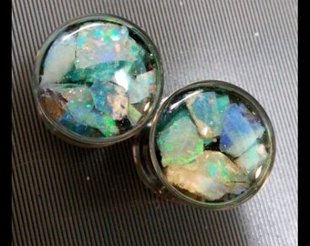 12mm double flare opal and turquoise plugs