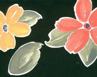 Lot 3 paper ornaments painted Klumpies flowers