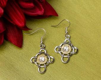 Bullet Casing Jewelry - Celtic Cross Dangle Bullet Earrings (9mm) (Nickel Free)