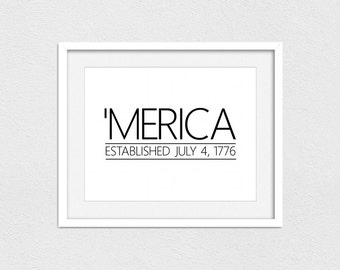 Merica Printable // Instant Download // Printing Services Available // America Printable // 'Merica Printable // Fourth of July Printable