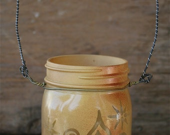 Mason Jar Lantern, Sun and Moon face with Swirls and Stars, Canning Jar Lighting