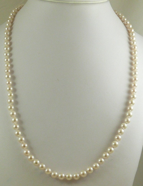 Japanese Akoya Pearl Necklace 14k Yellow Gold Clasp