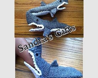Crochet shark slippers infant, child, adult