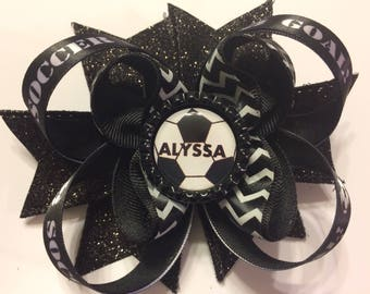 Personalized Soccer Hair Bow