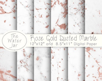 Rose Gold Marble Digital Paper White Dusted With Pink Foil Texture Wallpaper Background