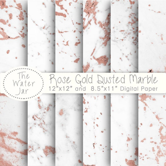 Rose Gold Marble Digital Paper White Dusted With Pink Foil Texture Wallpaper Background From TheWaterJar