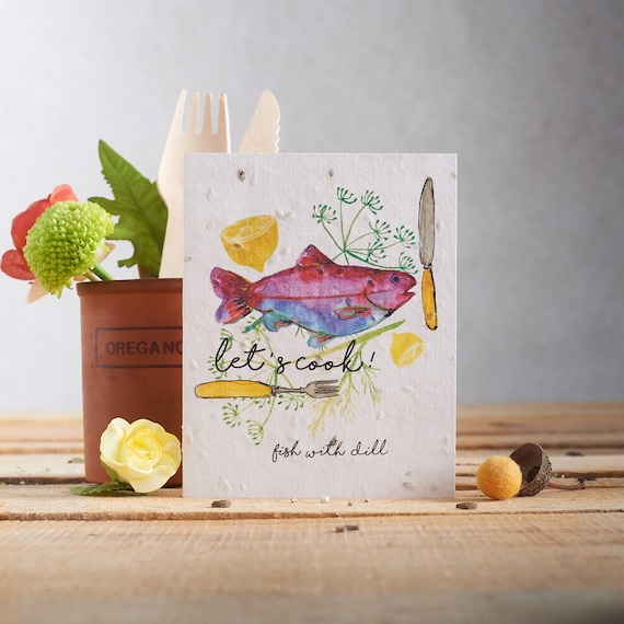 Plantable seed card - Plant the paper & watch it grow! - Card made with dill seeds - Cooking pattern - sailor - fishing - gardening - chef