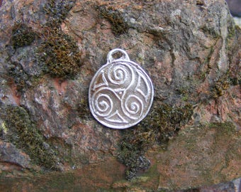 Celtic Triple Spiral, Triskele, Triskelion, Sterling Silver Pendant, Spiritual, Sterling Silver PMC
