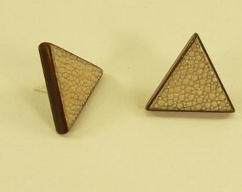Shagreen Triangle Stud Earrings