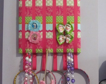 Hair bow, jewelry, head band board organizer holder, mixed stripe pattern in hot pink 12x12