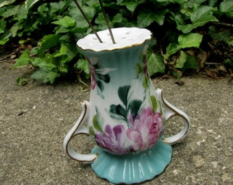 Vintage Hat Pin Holder | Hand Painted Roses  | Victorian Decor | Antique Gold Accents | Vanity Dresser Boudoir | Collectible