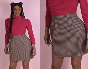 80s Plaid High Waisted Skirt/ US 14/ 1980s