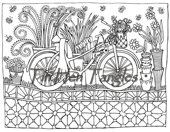 Easter Bicycle Coloring Page Art Therapy Color Therapy