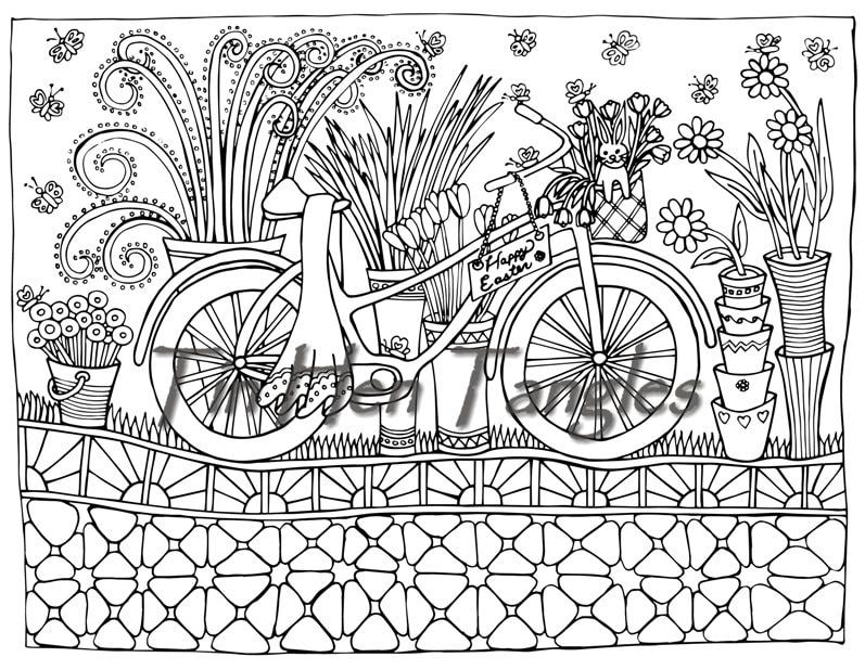 relaxation coloring pages - easter bicycle coloring page art therapy color therapy