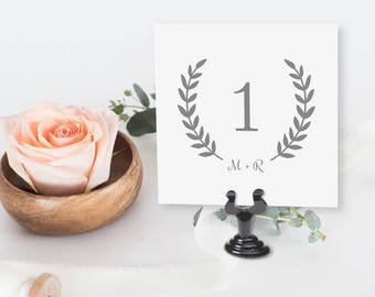Gray Wreath Table Number Set - Instant Download - Charcoal Grey Table Number Set - Printable PDF - Wedding - 4.25 x 4.5 inches - #GD3002