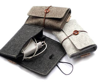 Cable bag for Notebook Accessories made of wool felt