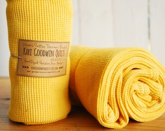 RESERVED FOR CHRISTINA - Organic Thermal Cotton Blanket - Light Weight, Hand Dyed, Organic Baby Blanket - Golden Sun Yellow