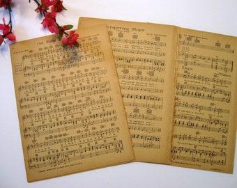 Vintage Sheet Music Paper, 15 Sheets, Music Sheets,  Wedding Paper, Scrap Booking Paper, Card Making Paper,