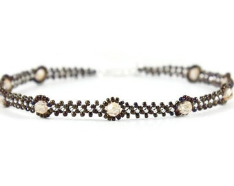 Brown Ankle Bracelet - Crystal Jewelry - Seed Bead Anklet - Beadwork Jewelry - Beaded Anklet - Foot Jewelry - Beach Summer Anklet