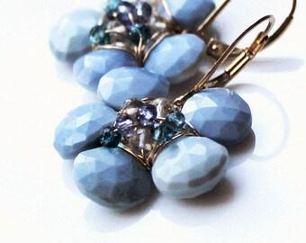 Opal Blue Flower Earrings