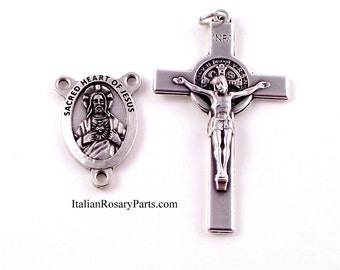 Sacred Heart Rosary Medal and St Benedict Crucifix Set | Italian Rosary Parts