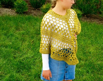 Lacy Poncho Crochet PATTERN - Summer - Poncho Crochet Pattern - 7 sizes - Beatrice