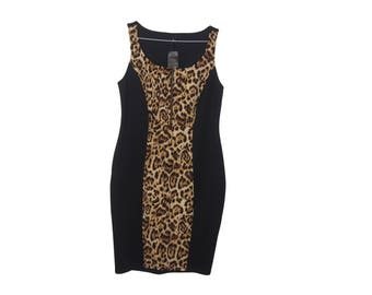 Black and Leopard Bodycon Dress