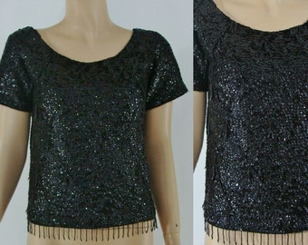 Vintage 60s Blouse - Sixties Sequins Party Blouse - 1960s Beaded Wool Sweater with an Argyle Design
