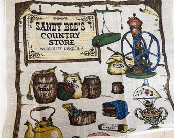 Sandy Bee's Country Store  LInen DishTowel Made by Kay Dee Hand Prints 70s 80s unused