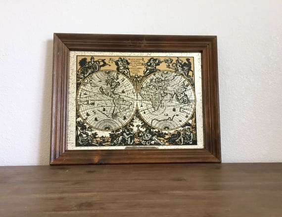 Vintage map world globe map monde world map mirror wood gumiabroncs Image collections