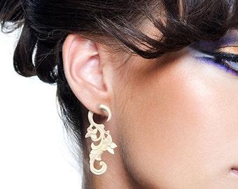Flo's Curls, Fake Gauges, White Bone, Tribal Earrings, Fake Plugs, Organic, Split, Handmade, Natural, Eco Friendly, Cheaters - B20