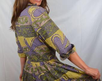 Vintage 1950s Pretty Cotton Paisley Dress