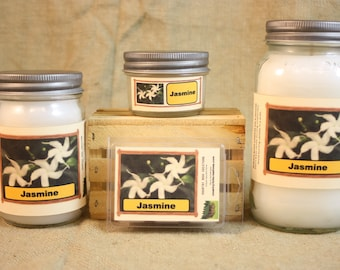 Jasmine Candle, Scented Candles and Wax Melts, Highly Scented Flower Candles and Wax Tarts, True Floral Scent, Gift for Her