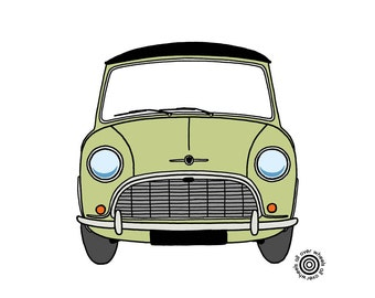 MINI cooper T-SHIRT 100% cotton Morris Mini MK1, DTG printed Original 1960s Mini colors Classic Morris Mini art by Wheels All Over