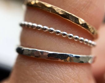 Textured Stacking Rings - Sterling Silver & 14k Gold Fill - Sold Separately