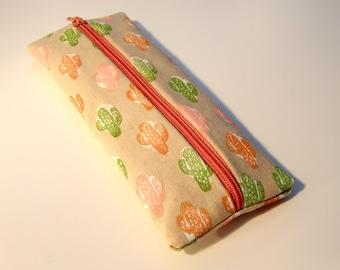 Cactus Pencil Case Handprinted Fabric