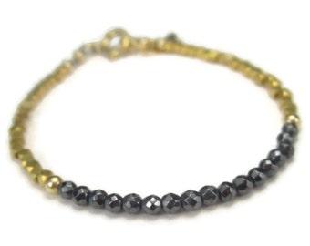 Hematite and Gold Beaded Bracelet, Slim Gray Gemstone Bracelet for Layering