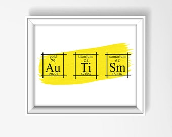 autism wall art poster periodic table of elements art scientific home decor chemistry - Periodic Table Autistic