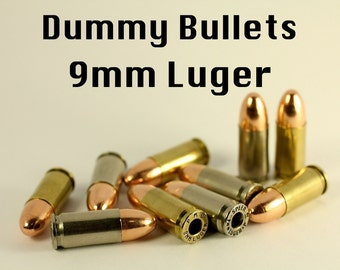 9mm Dummy Bullets / Replica Dummy Rounds - Bullet Casings Shell Lot Of Ten for making Steampunk Victorian Military Police Jewelry Crafts