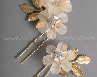 Gold and Champagne Flower Hair Pins - Primavera
