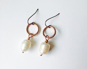 Baroque Pearl & Copper Earrings Tsalagi Cherokee Made