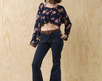 90s Gauze Long Sleeve Crop Top Floral - small medium large - Vintage Belly shirt