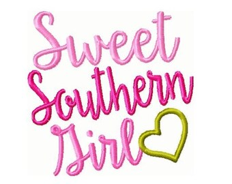 Sweet Southern Girl Embroidery Design 4x4  -INSTANT DOWNLOAD-