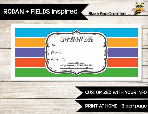 RODAN AND FIELDS Gift Certificate Gift Card Customized
